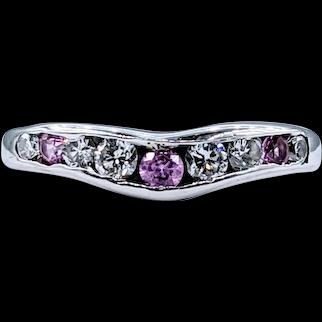 Lovely Diamond & Pink Sapphire Contour Ring