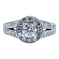 Sparkling Brilliant Cut Diamond Halo Engagement Ring