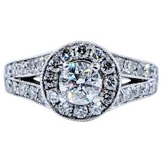 Sparkling Brilliant Cut Diamond Halo Engagement Ring