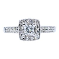 Vintage Princess Cut Diamond Halo Ring
