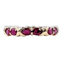 Deep Red Ruby & 14K Gold Eternity Ring