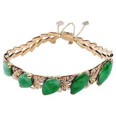 Beautiful Nephrite Jade & 18K Gold Link Bracelet