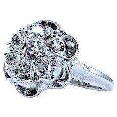 Vintage Diamond & 14K Gold Flower Ring