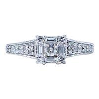 Stylish Diamond Frame Engagement Ring