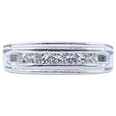 Striking Princess Cut Diamond Wedding Band