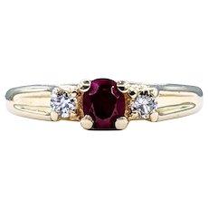 Deep Red Ruby & Diamond Dress Ring