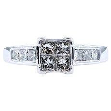 """Striking Diamond """"Illusion"""" Engagement Ring"""
