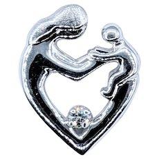 Lovely Diamond & White Gold Mother & Child Pendant