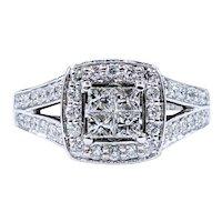 """Stunning Diamond & 14K White Gold """"Illusion"""" Ring"""