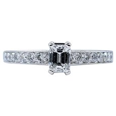 Flashing Emerald Cut Diamond Engagement Ring
