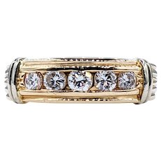 Exquisite Diamond & Fluted Gold Wedding Band