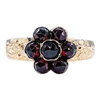 Victorian Rose-Cut Garnet Cluster Ring