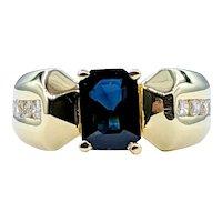 Retro Sapphire & Diamond Cocktail Ring - 18K Gold