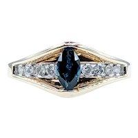 "Unique Diamond & ""Floating"" Sapphire Ring"