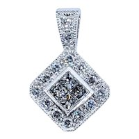Glittering Princess Cut Diamond Pendant