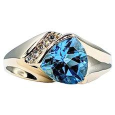 Contemporary Blue Topaz & Diamond Fashion Ring