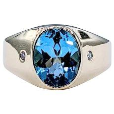 Electric Blue Topaz & Diamond Cocktail Ring