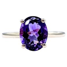 Royal Purple Amethyst Solitaire Ring