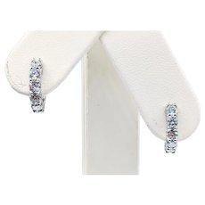 Diamond & 14K White Gold Huggie Earrings