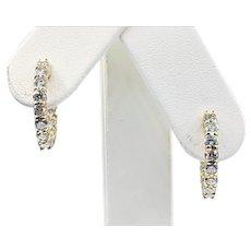 """Diamond & 14K Gold """"Inside/Outside"""" Hoop Earrings - Medium"""