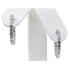"""Diamond & 14K White Gold """"Inside/Outside"""" Hoop Earrings - Large"""
