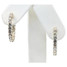 "Diamond & 14K Gold ""Inside/Outside"" Hoop Earrings - Large"