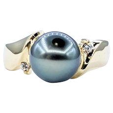 Enchanting Tahitian Pearl & Diamond Dress Ring