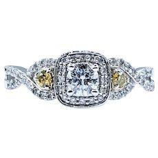 Bright White & Yellow Diamond Engagement Ring