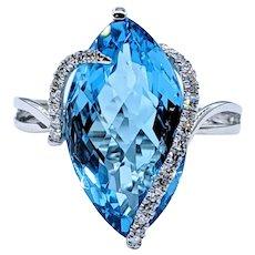 EFFY Swiss Blue Topaz & Diamond Cocktail Ring