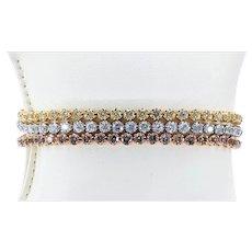 Exquisite Multi Strand Natural Colored Diamond Tennis Bracelet
