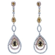 RARE Natural Colored Diamond Drop Earrings
