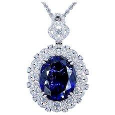 Exquisite 29.95ct Tanzanite and Diamond Platinum Pendant