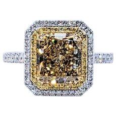 Radiant Natural Yellow Diamond Ring