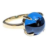 Sumptuous Cabochon Blue Topaz Cocktail Ring - 18K Gold