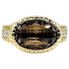 Judith Ripka Smokey Quartz, Diamond & 18K Gold Cocktail Ring