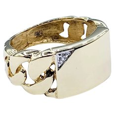 Solid Gold & Diamond Chain Link Ring