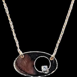 Modernist Diamond & 14K Gold Necklace