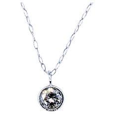 Stunning Solitaire Diamond Pendant Necklace - 18K White Gold