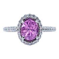 Vivid Pink Sapphire & Diamond Cocktail Ring