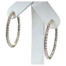 Large Diamond Inside / Outside Hoop Earrings - 5 Carats