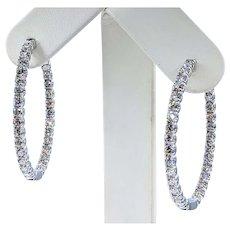 Outstanding 5 Carat Diamond Inside / Outside Hoop Earrings - Large