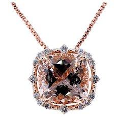 Enchanting Morganite & Diamond Pendant Necklace