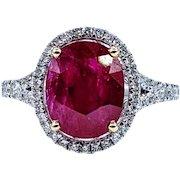 Bright Ruby & Diamond Cocktail Ring