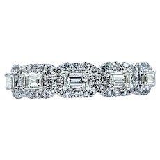 Shining Multi-Cut Diamond Halo Wedding Band