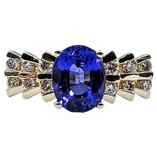 Vibrant Tanzanite & Diamond Dress Ring