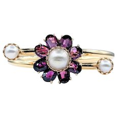 Lucian Piccard Garnet & Pearl Spring Cuff Bracelet