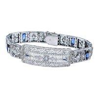Exquisite Art Deco Diamond & Synthetic Sapphire  Bracelet
