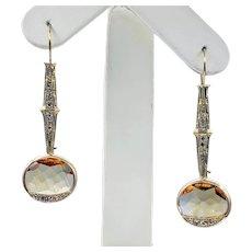 Beautiful Antique Topaz & Diamond Drop Earrings