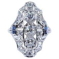 Glamorous Antique Art Deco Diamond Navette Ring
