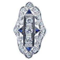 Outstanding Art Deco Diamond & Platinum Navette Ring